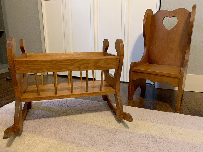 Wooden doll furniture made by W. B. Tanner Jr.
